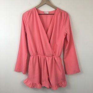 Altar'd State Coral Long Sleeve Ruffle Romper S